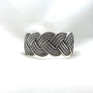 Jewelry - Woven Braided Bracelet Hinged Clamper Silver Tone